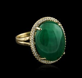 14kt Yellow Gold 21.15ct Emerald And Diamond Ring
