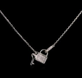 0.12ctw Diamond Necklace - 14kt White Gold