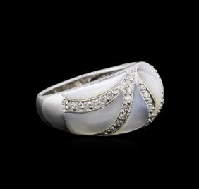 14kt White Gold 2.99ctw Mother Of Pearl And Diamond