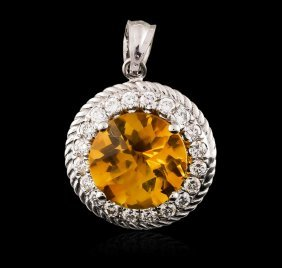 14kt White Gold 3.05ct Citrine And Diamond Pendant