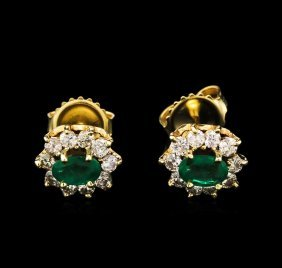 1.00ctw Emerald And Diamond Earrings - 14kt Yellow Gold