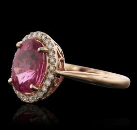 14kt Rose Gold 2.95ct Tourmaline And Diamond Ring