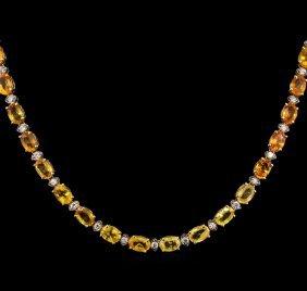 36.80ctw Multi Color Sapphire And Diamond Necklace -