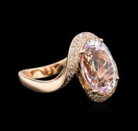 14kt Rose Gold 7.41ct Kunzite And Diamond Ring