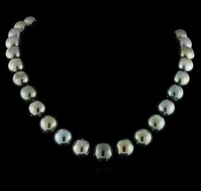 Tahitian Cultured Pearl Necklace With 14kt White Gold