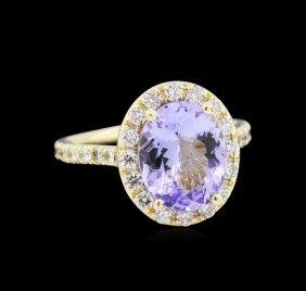 3.25ct Tanzanite And Diamond Ring - 14kt Yellow Gold