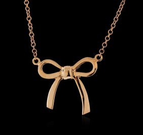 14kt Rose Gold Bow Necklace