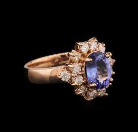1.75ct Tanzanite And Diamond Ring - 14kt Rose Gold