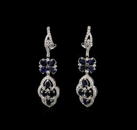 4.20ctw Sapphire And Diamond Earrings - 18kt White Gold