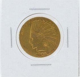 1908 $10 Motto Xf Indian Head Eagle Gold Coin