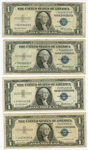 1935 And 1957 $1 Star Silver Certificates Lot Of 4