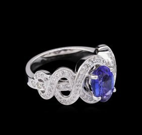 0.74ct Tanzanite And Diamond Ring - 14kt White Gold