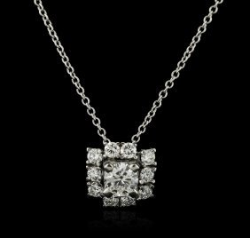 14kt White Gold 0.64ctw Diamond Pendant With Chain