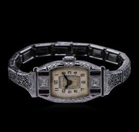 Bulova Art Deco 14kt White Gold Sapphire And Diamond