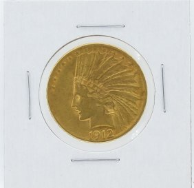 1912 $10 Xf Indian Head Eagle Gold Coin