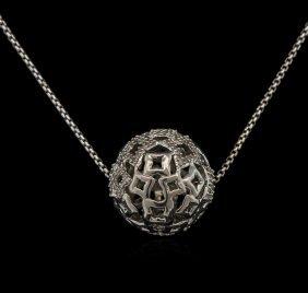 0.20ctw Diamond Ball Pendant With Chain - Silver