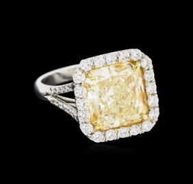 Egl Usa Cert 6.95ctw Fancy Yellow Diamond Ring -