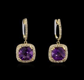 4.00ctw Amethyst And Diamond Dangle Earrings - 14kt