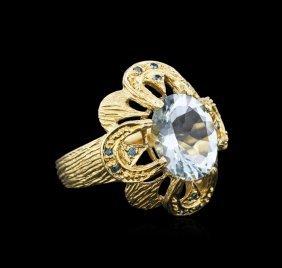 14kt Yellow Gold 4.49ct Aquamarine And Blue Diamond