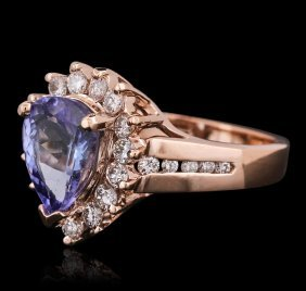 14kt Rose Gold 2.40ct Tanzanite And Diamond Ring