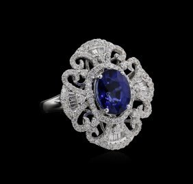 3.51ct Blue Sapphire And Diamond Ring - 14kt White Gold