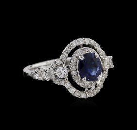 1.00ct Blue Sapphire And Diamond Ring - 14kt White Gold