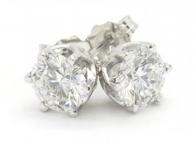 1.39ctw Leo Diamond Stud Earrings - 14k White Gold