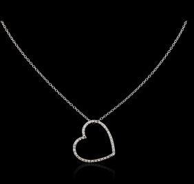 14kt White Gold 0.20ctw Diamond Heart Pendant With