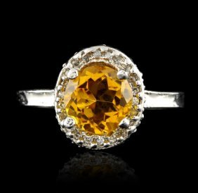 14kt White Gold 2.35ct Citrine And Diamond Ring