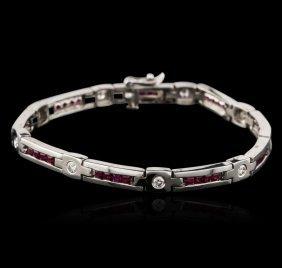 14kt White Gold 2.40ctw Ruby And Diamond Bracelet