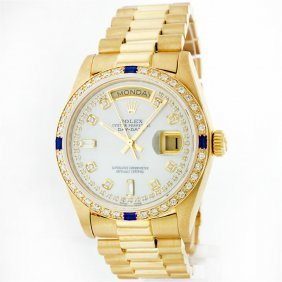 Rolex President 18kt Gold 1.00ctw Diamond And Sapphire