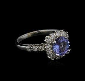 1.15ct Tanzanite And Diamond Ring - 14kt White Gold