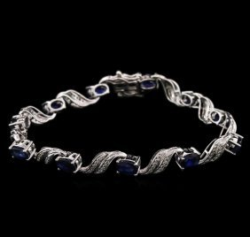 6.84ctw Sapphire And Diamond Bracelet - 14kt White Gold