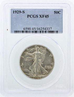 1929-s Pcgs Graded Xf45 Walking Liberty Half Dollar