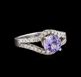 1.43ct Tanzanite And Diamond Ring - 14kt White Gold