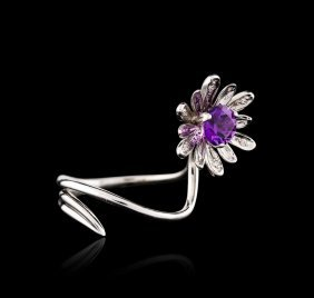 14kt White Gold 1.10ct Amethyst And Diamond Ring