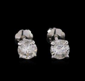 0.75ctw Diamond Stud Earrings - 14kt White Gold