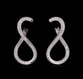 0.90ctw Diamond Earrings - 14kt White Gold