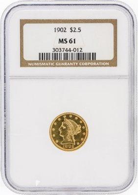 1902 Ngc Ms61 $2.50 Liberty Head Quarter Eagle Gold