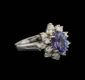 2.20ct Tanzanite And Diamond Ring - 14kt White Gold