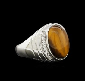 7.80ct Tiger Eye And Diamond Ring - 14kt White Gold