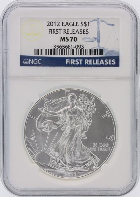 2012 Ngc Graded Ms70 $1 American Silver Eagle Silver