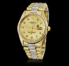 Rolex 14kt Yellow Gold 4.00ctw Diamond Date Men's Watch