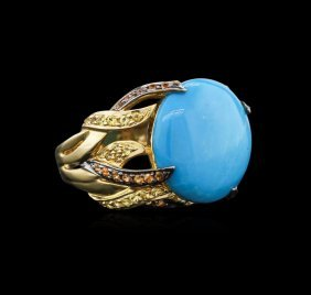 14kt Yellow Gold 7.64ct Turquoise And Sapphire Ring