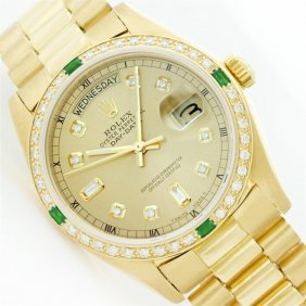 Rolex President 18kt Gold 1.00ctw Diamond And Emerald