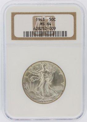 1943 Ngc Graded Ms64 Walking Liberty Half Dollar Silver