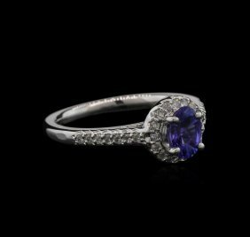 0.80ct Tanzanite And Diamond Ring -14kt White Gold