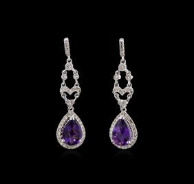 2.29ctw Amethyst And Diamond Earrings - 14kt White Gold