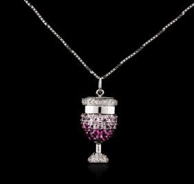18kt White Gold 0.15ctw Pink Sapphire And Diamond