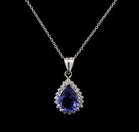 3.85ct Tanzanite And Diamond Pendant With Chain - 14kt